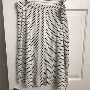 White and black polka dot skirt